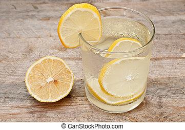 verre, de, eau, à, citron,