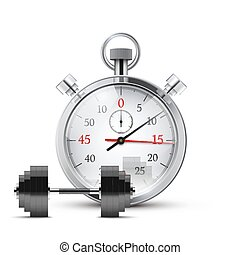 Vector Illustration of dumbbell and stopwatch Background of...