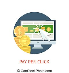 Pay per click icon with pc and notebook - Flat concept icon...
