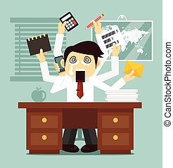 Hard work. Vector flat business illustratuin
