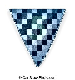 Bunting flag number 5 - eps 10 vector illustration