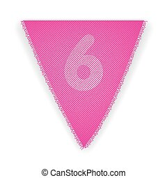 Bunting flag number 6 - eps 10 vector illustration