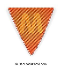 Bunting flag letter M - eps 10 vector illustration