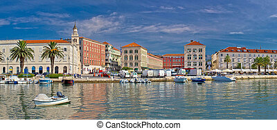 Split waterfront Peristil panoramic view, Dalmatia, Croatia