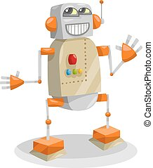 fantasy robot cartoon illustration - Cartoon Illustration of...