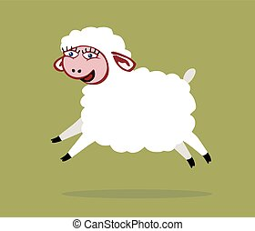Sheep jumps - There is a white smiling sheep with big eyes...