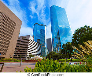 Houston downtown Smith St skyline Texas US - Houston...