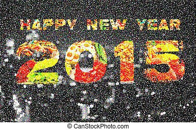 Happy New Year 2015 Pointillized multicolored abstract...