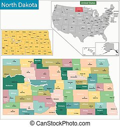 North Dakota map - Map of North Dakota state designed in...