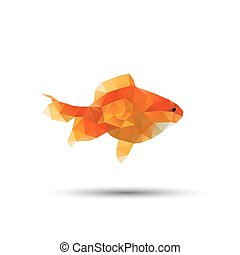 Golden fish abstract isolated on a white background, vector...