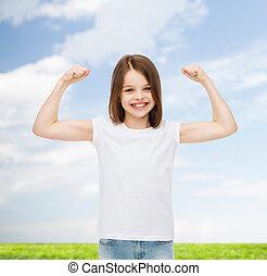 smiling little girl in white blank t-shirt - advertising,...