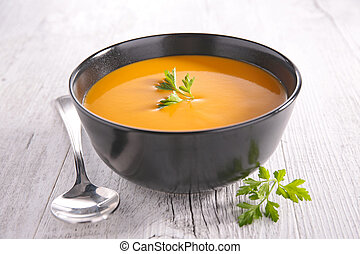 bowl of soup and parsley