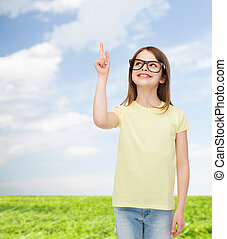 smiling cute little girl in black eyeglasses - education,...