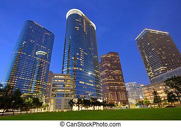 Houston Downtown skyline sunset at Texas US
