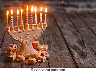Hannukah background - Jewish holiday hannukah symbols -...