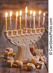Hannukah - Jewish holiday hannukah symbols - menorah and...