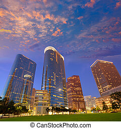 Houston Downtown skyline sunset at Texas US - Houston...