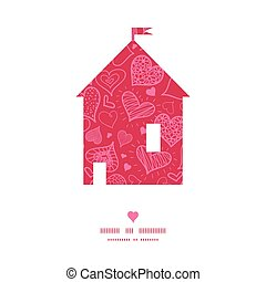 Vector doodle hearts house silhouette pattern frame graphic...