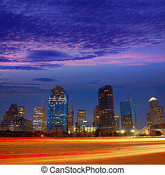 Houston downtown skyline at sunset dusk Texas - Houston...