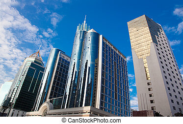 Business buildings under blue sky