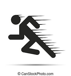 Running people in motion. Simple symbol of run isolated on a white background.