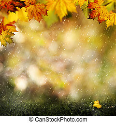 November rain Beauty autumnal backgrounds with falling...