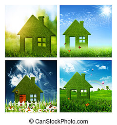 Set of assorted eco and environmental backgrounds for your...