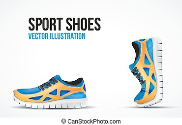Background of Two Running shoes. Bright Sport sneakers...