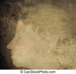 What Dreams May Come - Face of a woman sleeping overlayed...