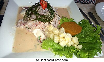 Peruvian-style ceviche made out of raw dogfish, red onions...