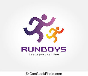 Abstract running people vector logo icon concept. Logotype...