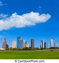 Houston skyline blue sky Memorial park Texas US - Houston...