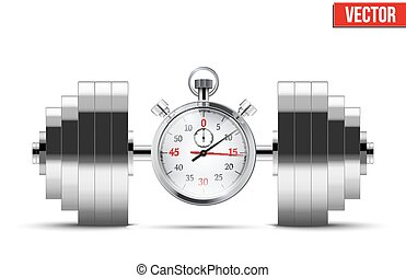 Vector Illustration of dumbbell and stopwatch. Background of...