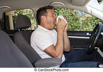 Man sneezing in car - Man allergic to pollen sneezing into...