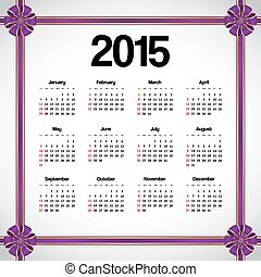 Calendar 2015 decorated with violet bows