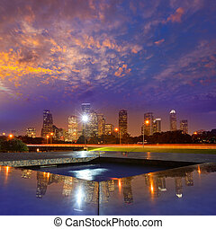Houston sunset skyline from Texas US - Houston sunset...