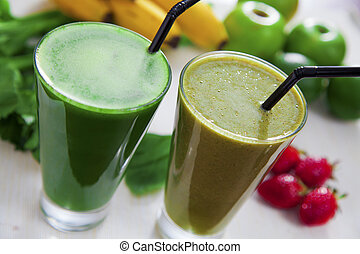 Healthy juices - Celery and banana strawberry juice