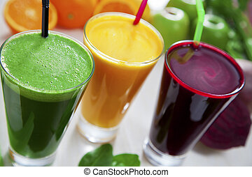 Healthy juices - Beetroot, apple and celery juice.