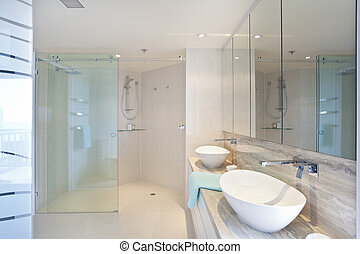 Modern bathroom - Modern twin bathroom in stylish Australian...