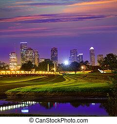 Houston sunset skyline from Texas US - Houston sunset...