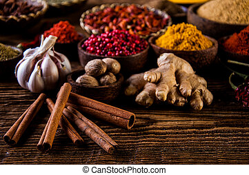 Oriental theme with seasoning - Traditional oriental spices...