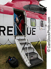 helicopter door - the door of a sea rescue helicopter