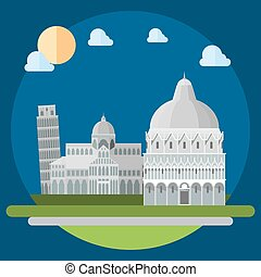 Flat design of piza square buildings illustration vector