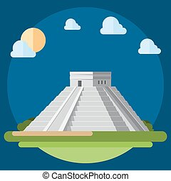Flat design of Chichen Itza illustration vector
