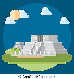 Flat design of Chichen Itza illustration vector
