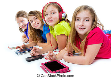 sisters kid girls tech tablets and smatphones - sisters...