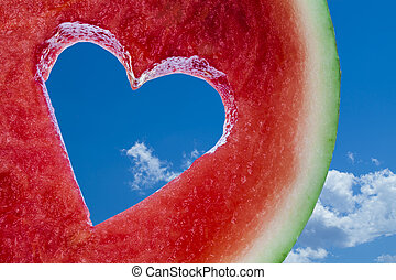 Love heart fruit - Love shape cut into juicy watermelon on...