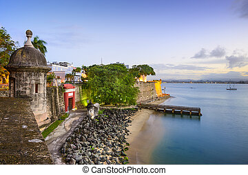 San Juan, Puerto Rico old city view over Paseo de la...