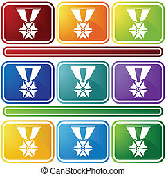military medal icon bevel
