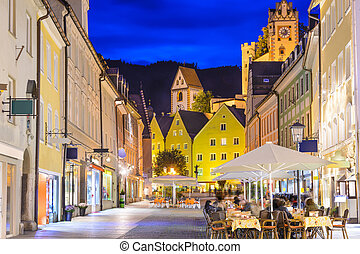 Fussen, Germany townscape at night.